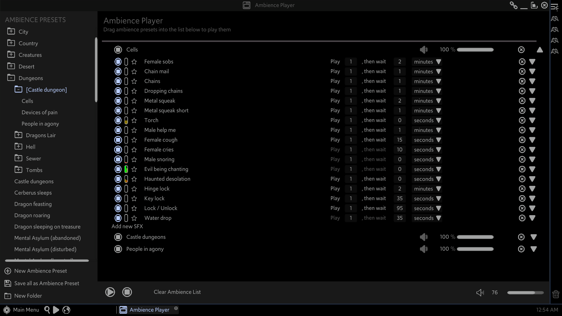 The Ambience Player window of the Master's Toolkit. Three presets are active in the player, with one expanded to show several ambience tracks