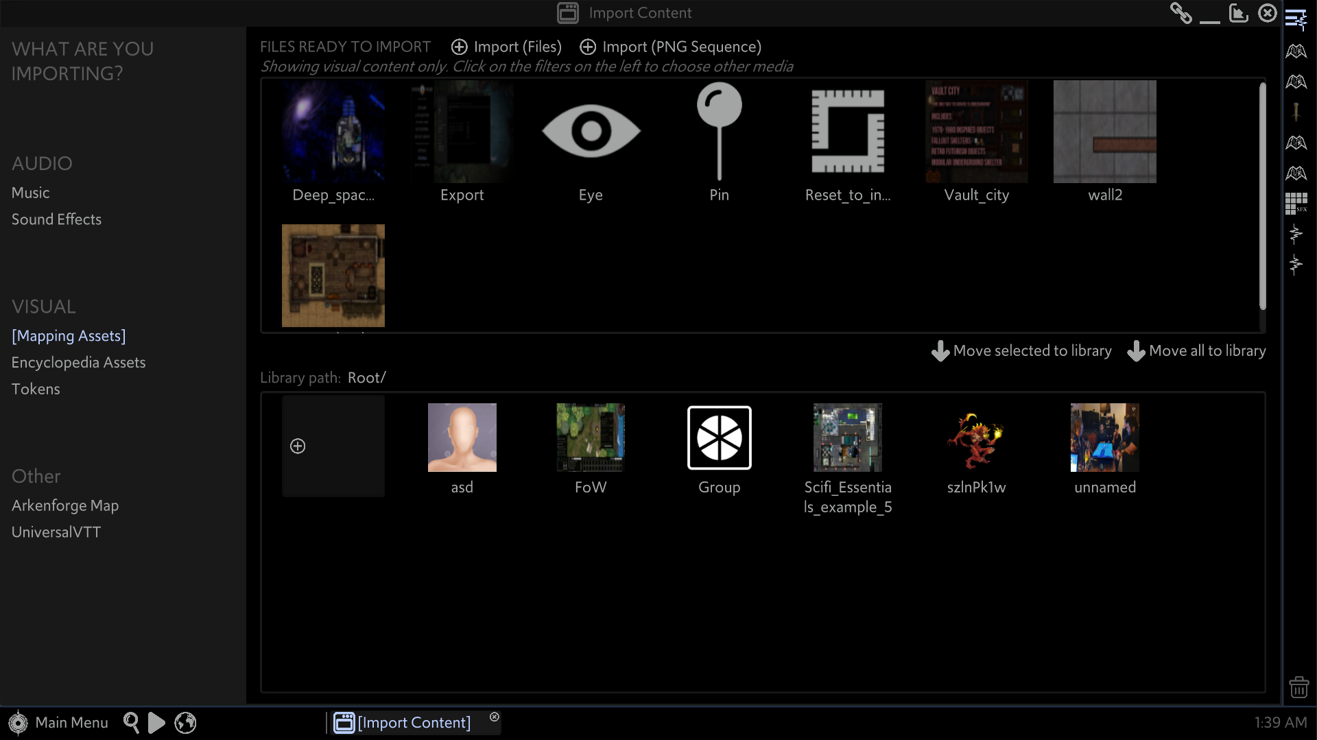 The Import Content window of the Master's Toolkit is open. The 'Mapping Assets' tab is open