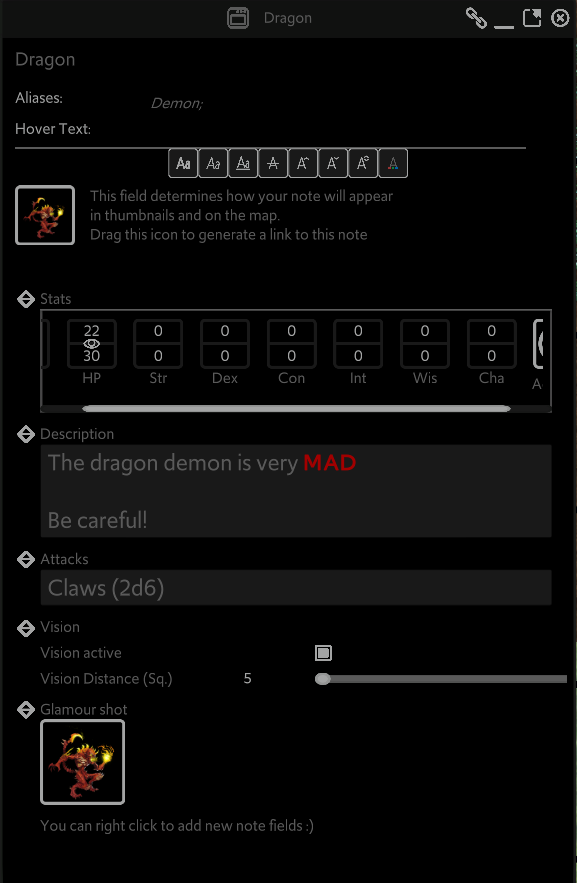 The note for a Dragon Demon is shown on screen. Stat fields are shown, as well as descriptive text, vision, and media fields