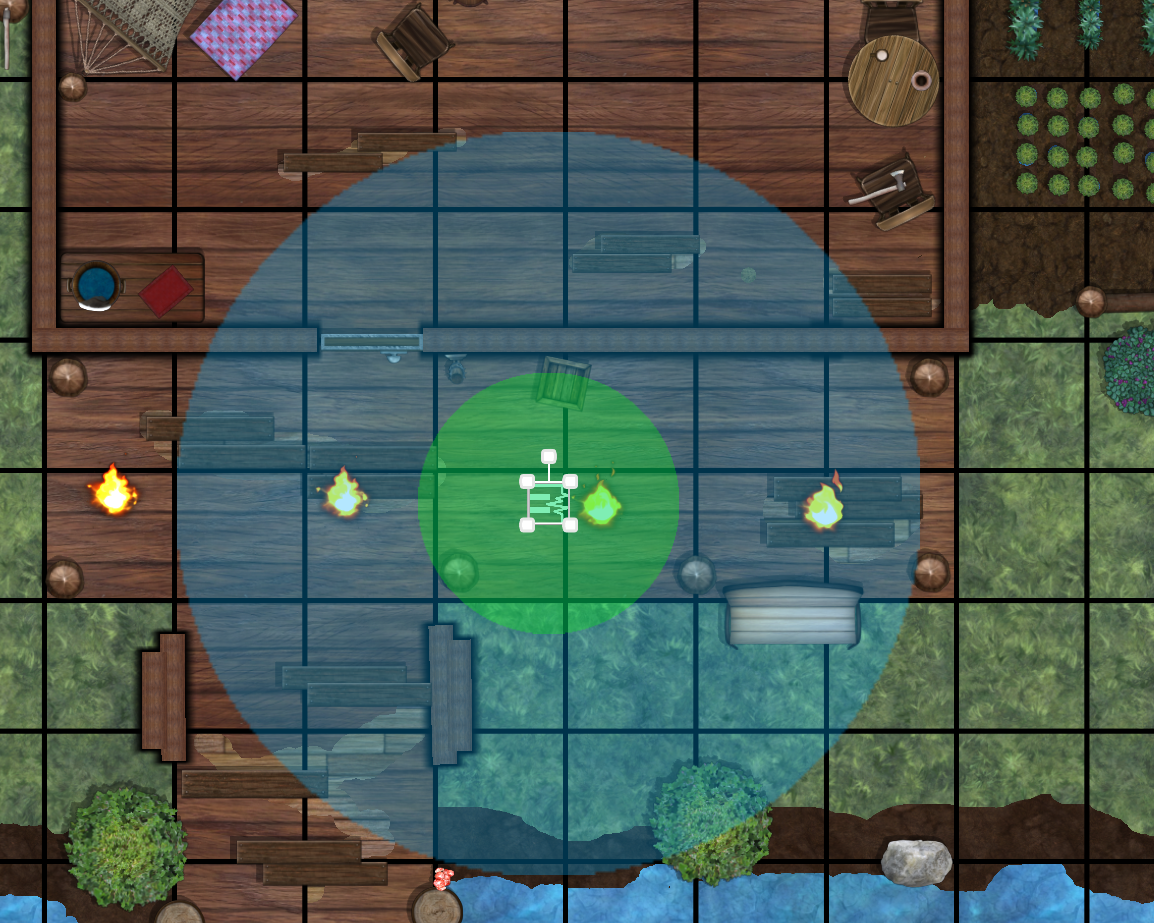 An ambieince preset is placed on a map. An outer blue circle shows the sound falloff zone, and an inner green circle shows the zone where the volume is at maximum
