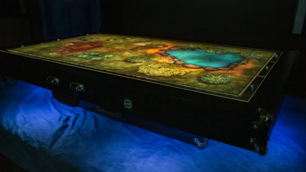Image of a digital screen gaming table with update maps using the Master's Toolkit